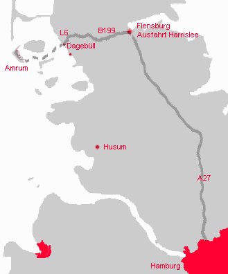 Karte Anreise Amrum
